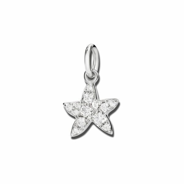 Pendentif Dodo étoile de mer en or blanc et diamants