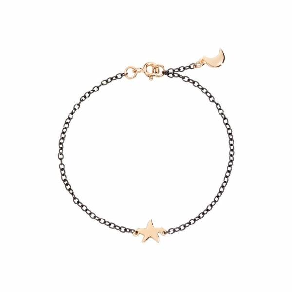 Bracelet DoDo Etoile Lune en argent, PVD noir et or rose