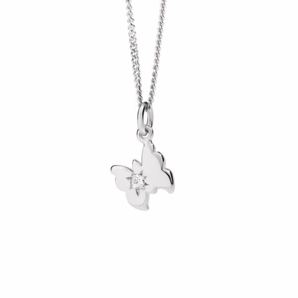 Collier DoDo Petit Papillon en or blanc et diamant
