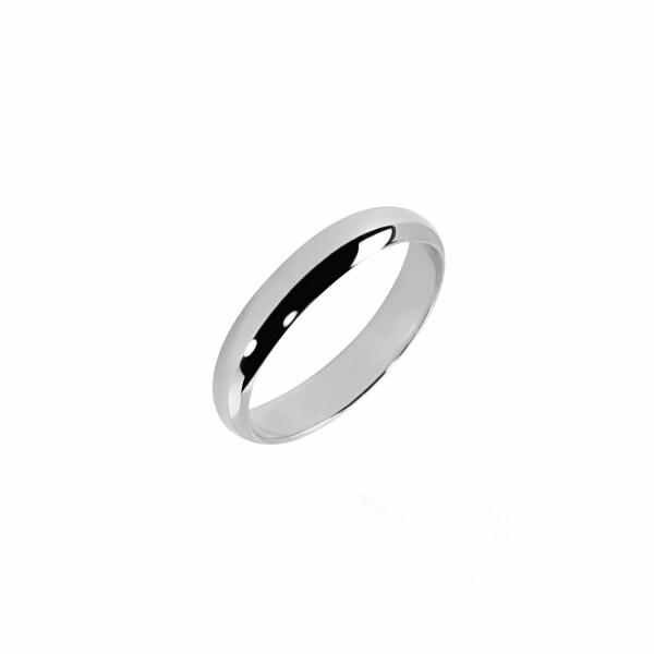Alliance Demi-Jonc en or blanc, 4mm