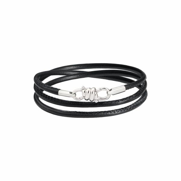 Bracelet DoDo en or blanc, rhodium et cuir 20 cm