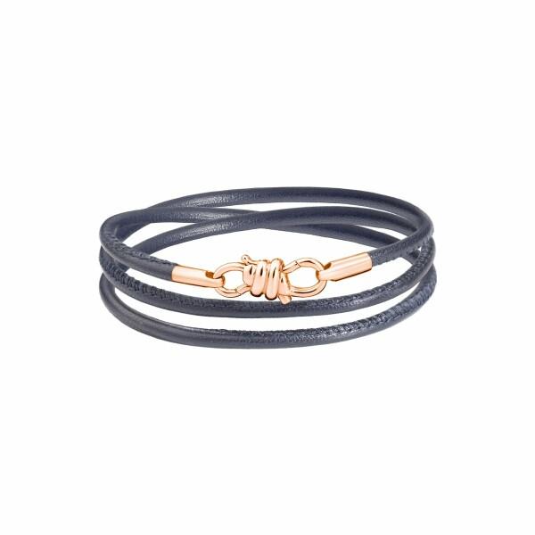 Bracelet sur cordon DoDo Nodo Bracelet Nodo en or rose et cuir gris, 17cm