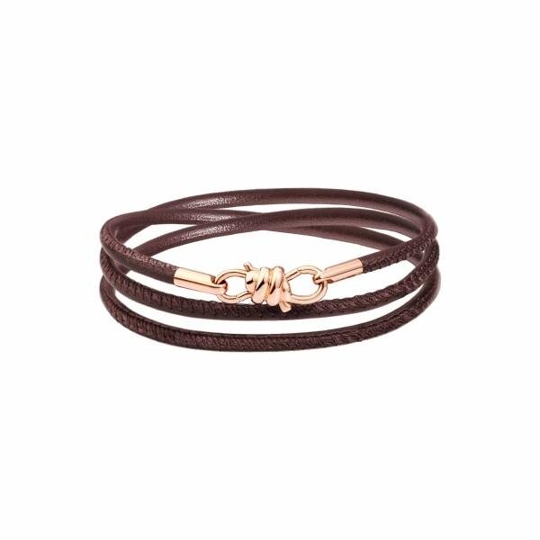 Bracelet sur cordon DoDo Nodo Bracelet Nodo en or rose et cuir moka, 17cm