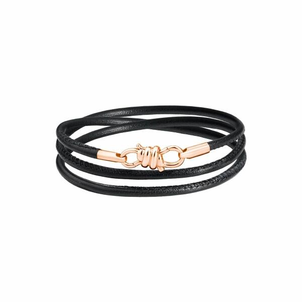 Bracelet sur cordon DoDo Nodo Bracelet Nodo en or rose et cuir noir, 18cm