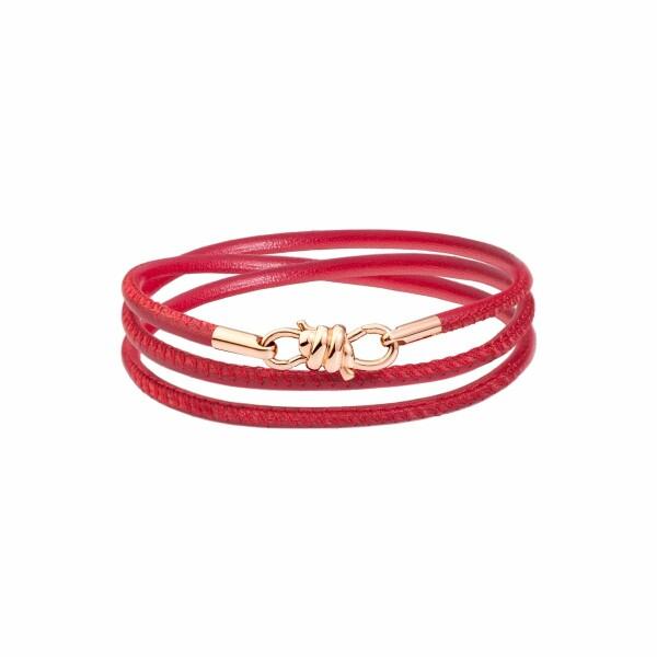 Bracelet sur cordon DoDo Nodo Bracelet Nodo en or rose et cuir bordeaux, 17cm