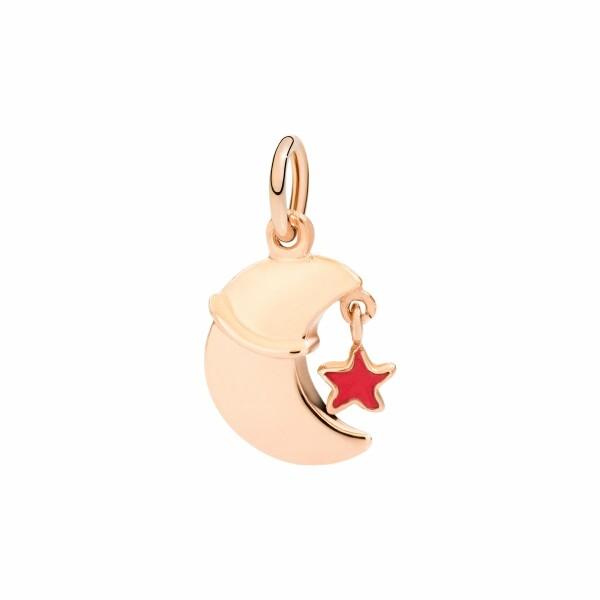 Pendentif DoDo Reves Lune Avec Petite Étoile en or rose et émail