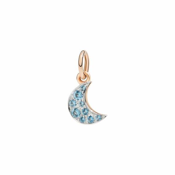 Pendentif Dodo Lune en or rose et topaze bleue