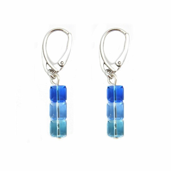 Boucles d'oreilles Indicolite Pixel 3 Carré en argent et cristaux Swarovski bleus