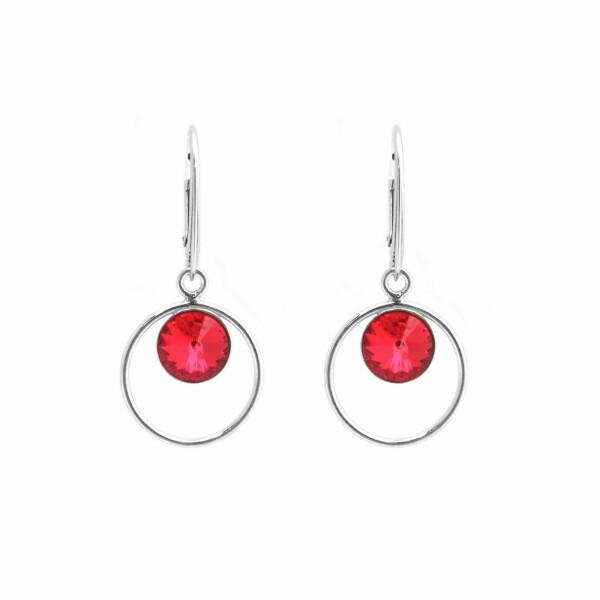 Boucles d'oreilles Indicolite Juliette en argent et cristaux Swarovski rouges