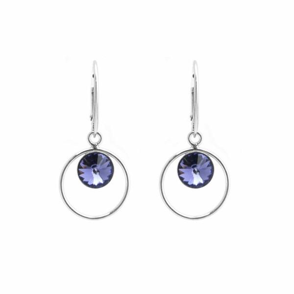 Boucles d'oreilles Indicolite Juliette en argent et cristaux Swarovski violets