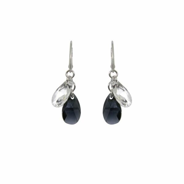 Boucles d'oreilles Indicolite Sabine en argent et cristaux Swarovski noirs et blancs
