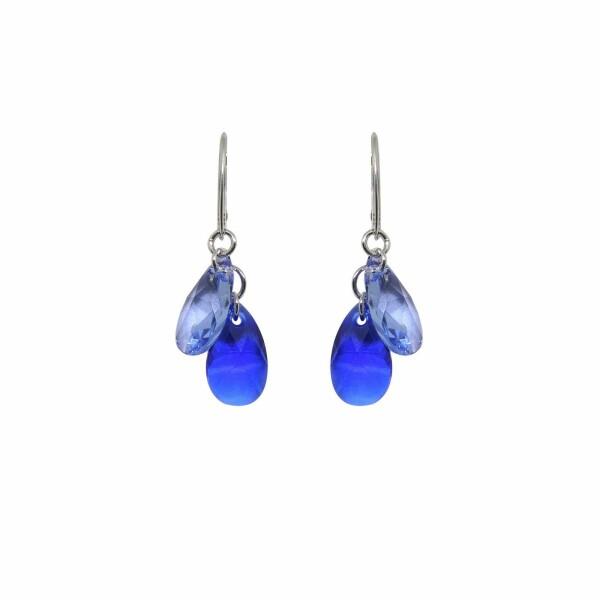 Boucles d'oreilles Indicolite Sabine en argent et cristaux Swarovski bleus