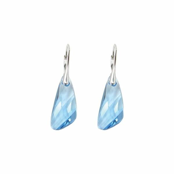Boucles d'oreilles Indicolite Wing en argent et cristaux Swarovski turquoises