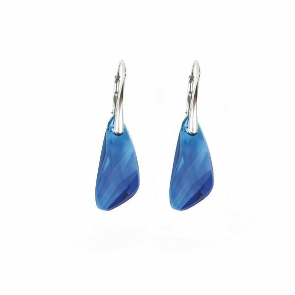 Boucles d'oreilles Indicolite Wing en argent et cristaux Swarovski bleus