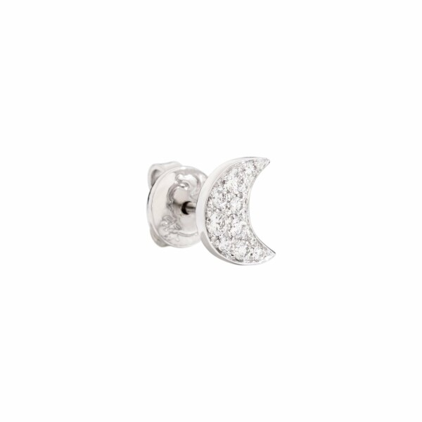 Boucles d'oreilles DoDo Lune en or blanc, rhodium et diamants 0.15ct