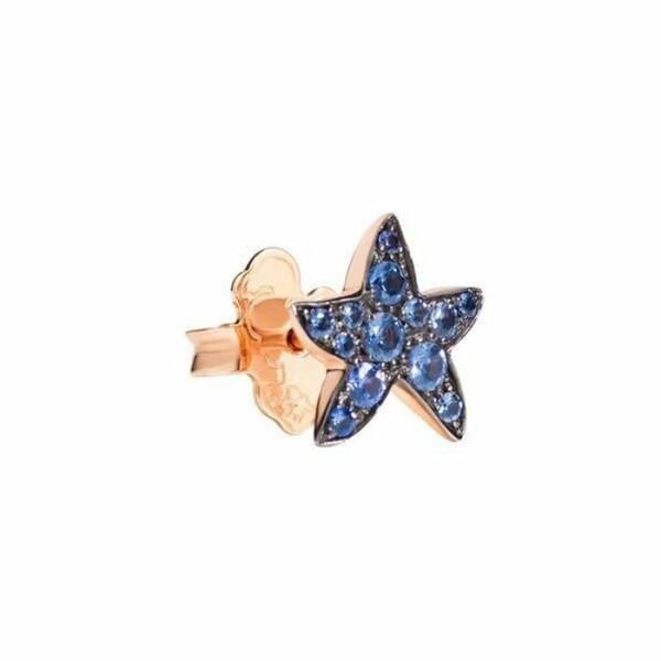 Boucles d'oreilles DoDo Etoile de mer en Or rose et Saphir bleu