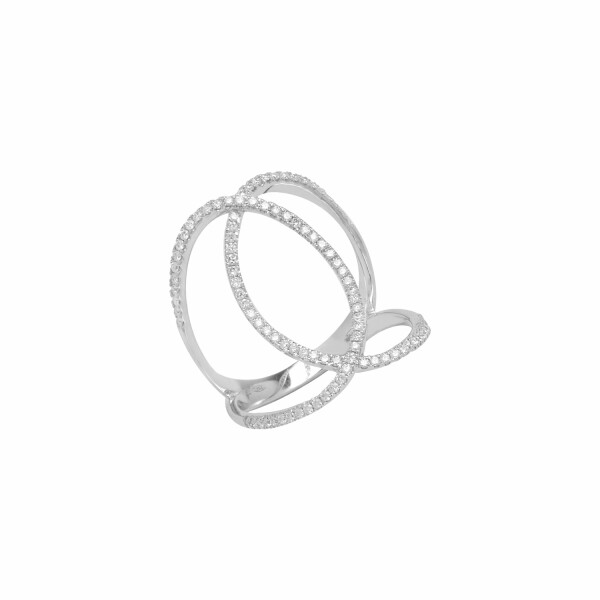 Bague Djula Double C en or blanc et diamants