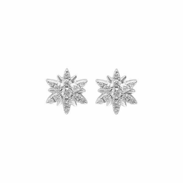 Boucles d'oreilles Djula Small Sun en or blanc et diamants