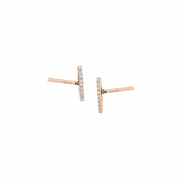Boucles d'oreilles en or rose et diamants de 0.05ct