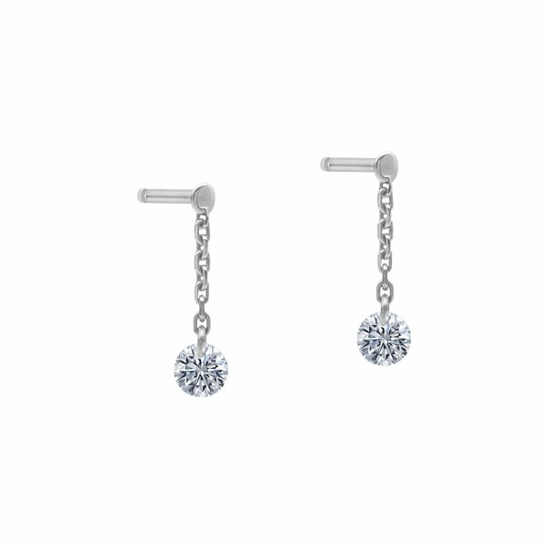 Boucles d'oreilles pendantes LA BRUNE & LA BLONDE 360° en or blanc et diamants de 0.40ct