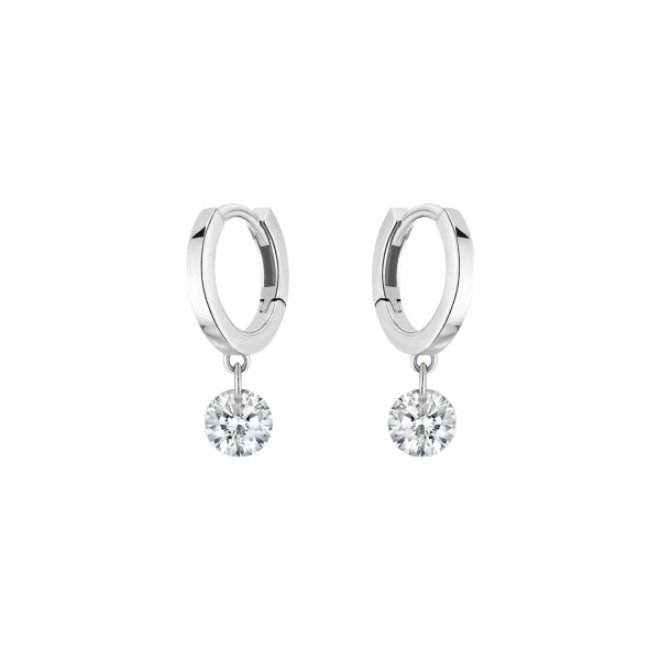 Boucles d'oreilles créoles LA BRUNE & LA BLONDE 360° en or blanc et diamants de 0.20ct
