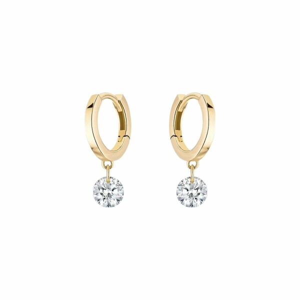 Boucles d'oreilles créoles LA BRUNE & LA BLONDE 360° en or jaune et diamants de 0.20ct