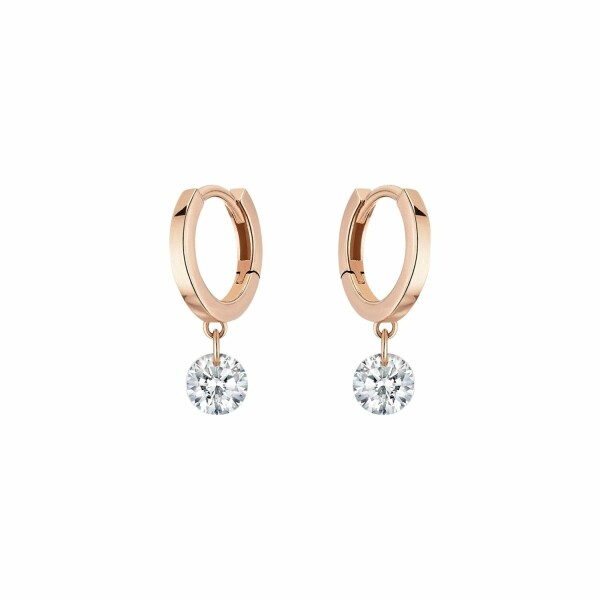 Boucles d'oreilles créoles LA BRUNE & LA BLONDE 360° en or rose et diamants de 0.60ct
