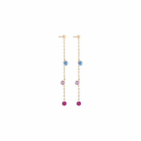 Boucles d'oreilles pendentes LA BRUNE & LA BLONDE CONFETTI Venise en or rose, saphirs rose, bleus et rubis de 0.80ct
