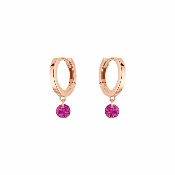 Boucles d'oreilles créoles LA BRUNE & LA BLONDE CONFETTI en or rose et rubis de 0.30ct