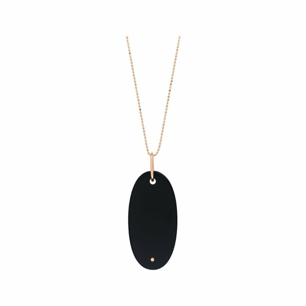 Collier GINETTE NY ELLIPSES & SEQUINS en or rose et onyx
