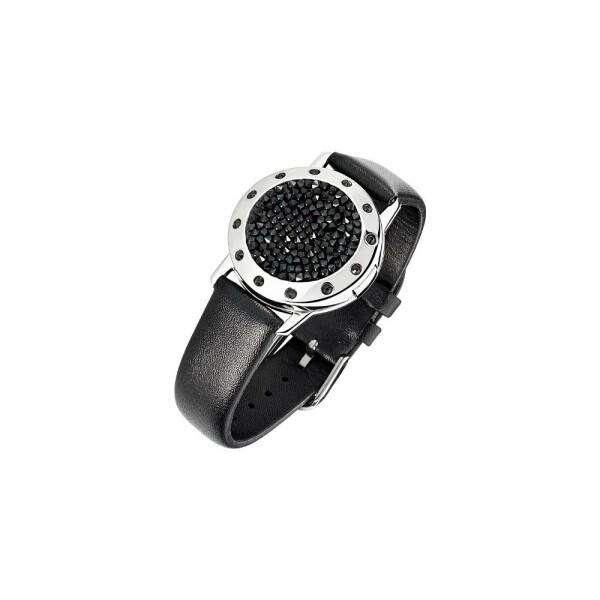 Bracelet Épure en plaqué argent, cuir et cristaux Fine Rock