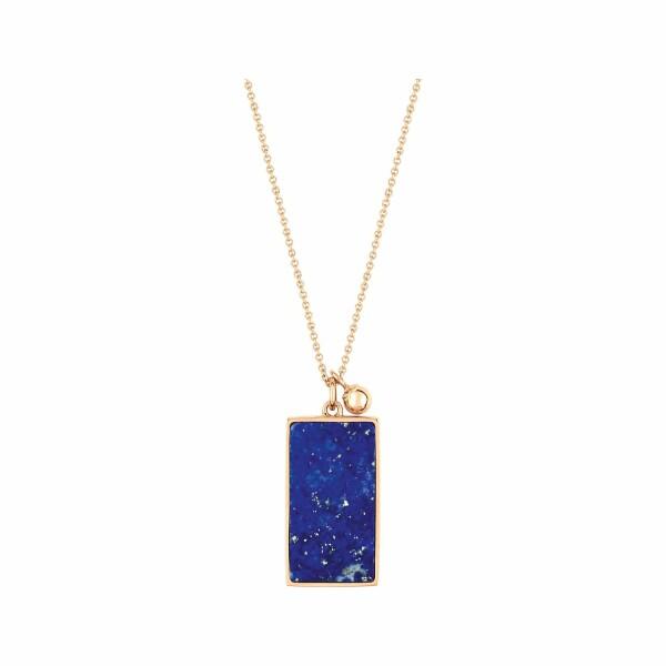 Collier GINETTE NY EVER en or rose et lapis lazuli