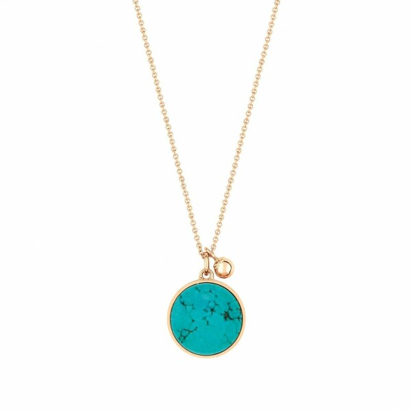 Collier GINETTE NY EVER en or rose et turquoise