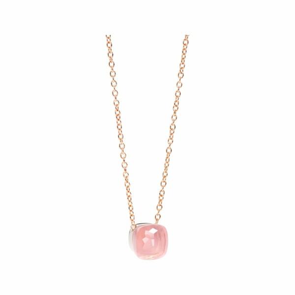 Pendentif Pomellato Nudo Quarzo Rosa en or rose, calcédoine et quartz rose