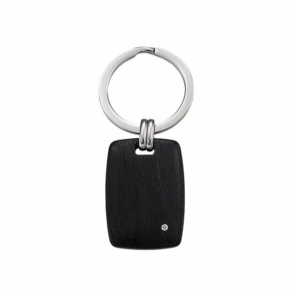 Porte clés Jourdan Bijoux Socotra en acier, ébène et diamant