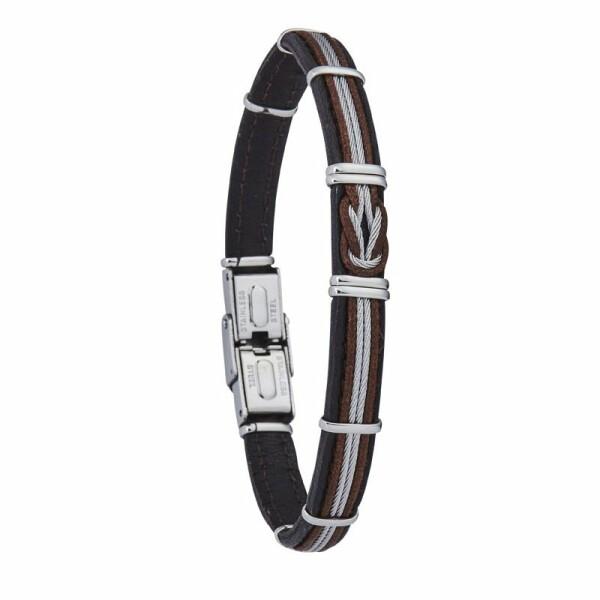 Bracelet Jourdan Bijoux Streif en acier, cuir