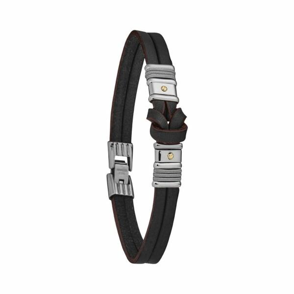 Bracelet Jourdan Bijoux Wallis en acier, cuir