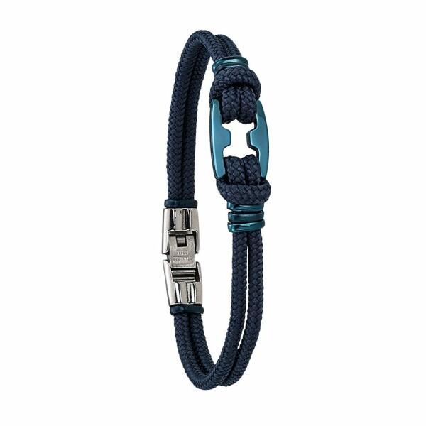 Bracelet sur cordon Jourdan Bijoux Maho en acier plaqué bleu