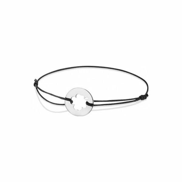 Bracelet sur cordon Augis trèfle en or blanc, 14mm
