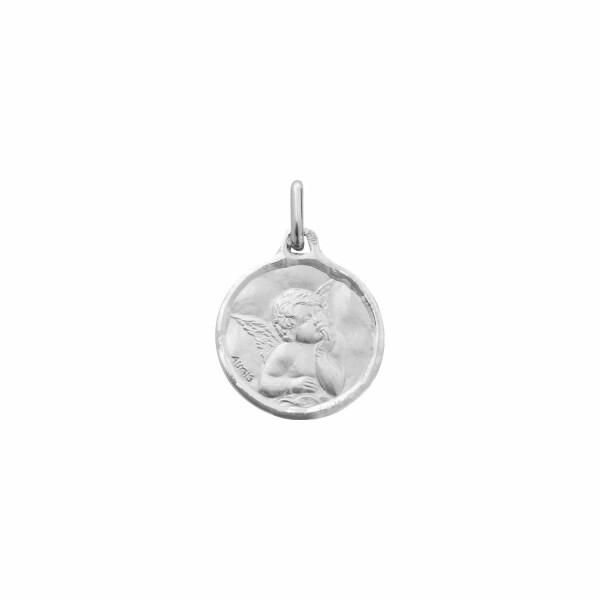 Médaille de baptême Augis Ange Raphaël en or blanc, 16mm