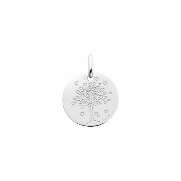 Médaille de baptême Augis arbre aux cœurs en or blanc, 14mm