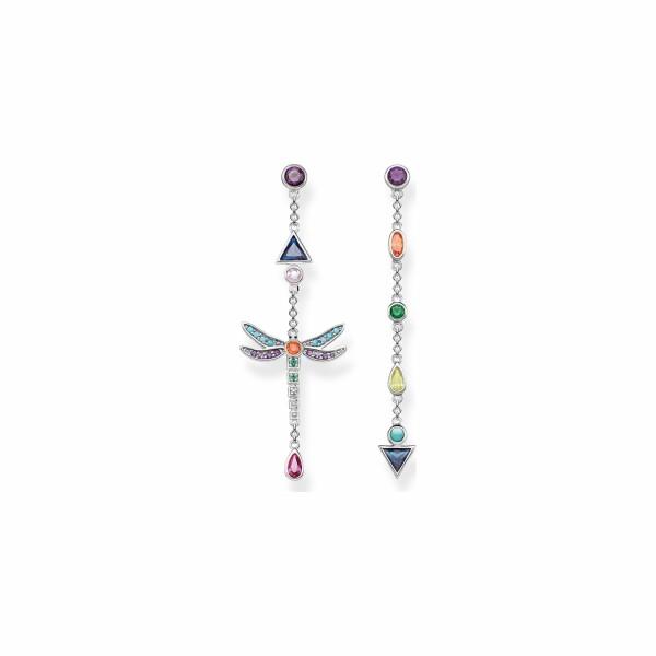 Boucles d'oreilles Thomas Sabo Libellule en argent et pierres multicolores