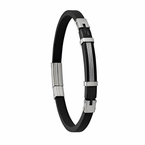 Bracelet Jourdan Bijoux Lachenal en acier et caoutchouc