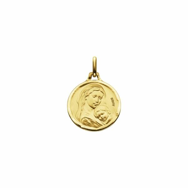 Médaille de baptême Augis Vierge à l'enfant en or jaune, 16mm