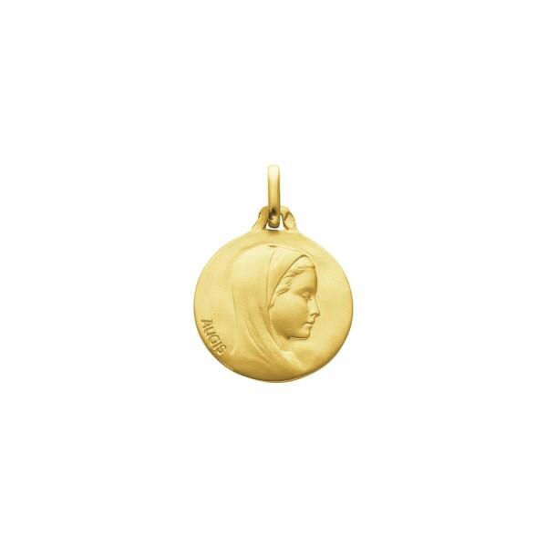 Médaille de baptême Augis Vierge de profil en or jaune, 18mm