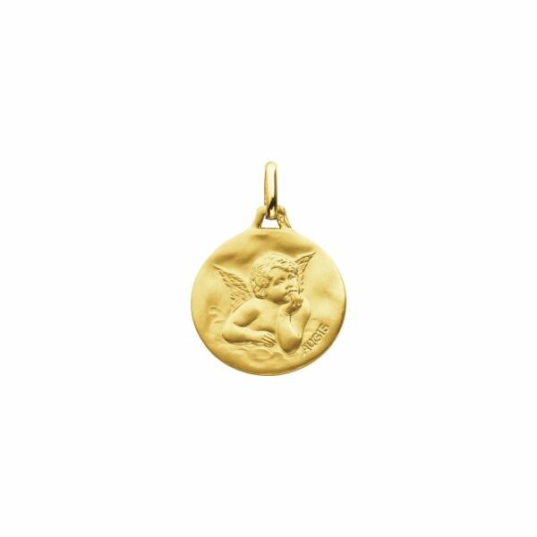Médaille de baptême Augis Ange Raphaël en or jaune, 18mm
