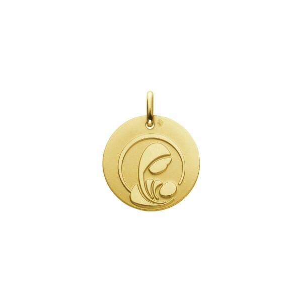 Médaille de baptême Augis Vierge à l'enfant stylisée en or jaune, 16mm