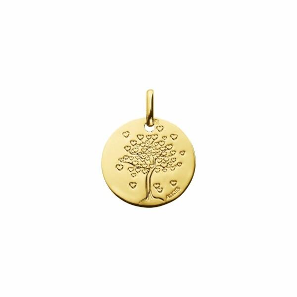 Médaille de baptême Augis arbre aux cœurs en or jaune, 16mm