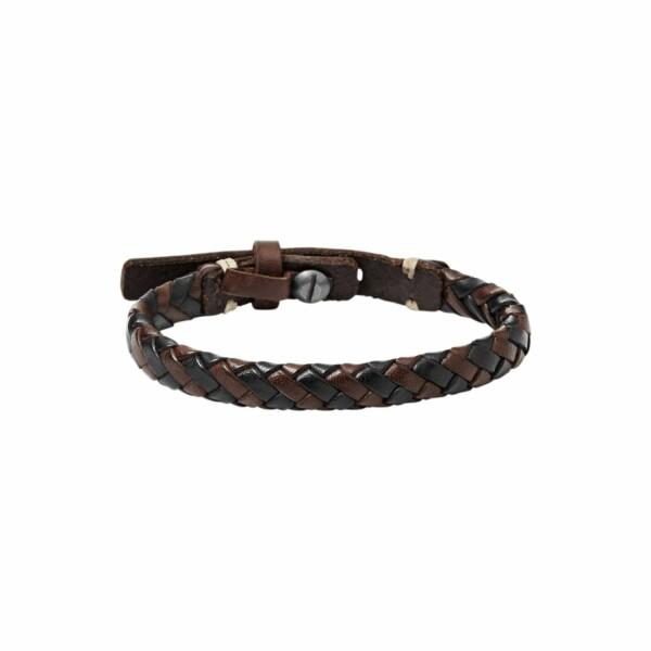 Bracelet FOSSIL en cuir marron tressé