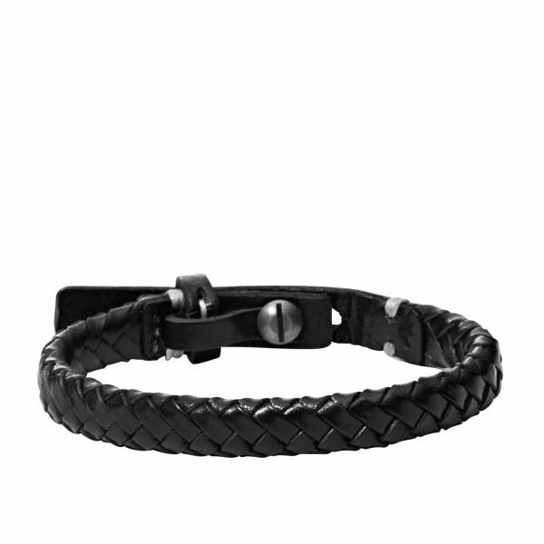 Bracelet FOSSIL en cuir noir tressé